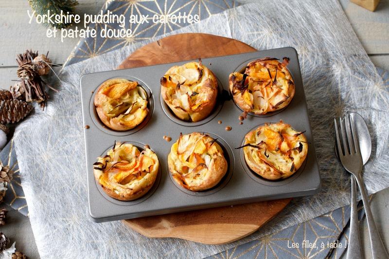 yorkshire pudding, carottes, patates douces, les filles à table