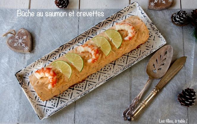 bûche saumon crevettes noël les filles à table