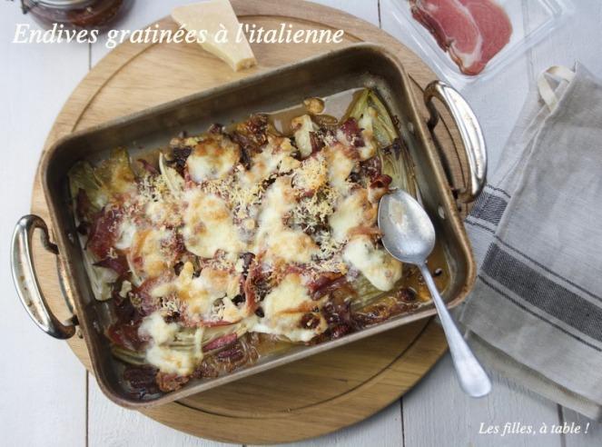 endives, gratin, mozzarella, parmesan, les filles à table