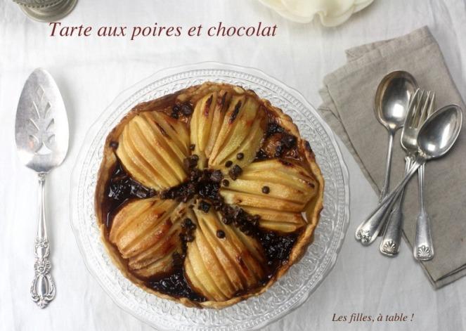 tarte, poires, chocolat, les filles à table