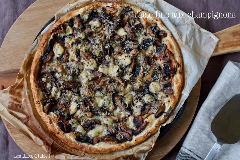 tarte, champignons, bleu basque, thym,