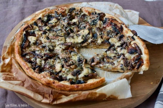 tarte, champignons, bleu basque, thym, les filles à table