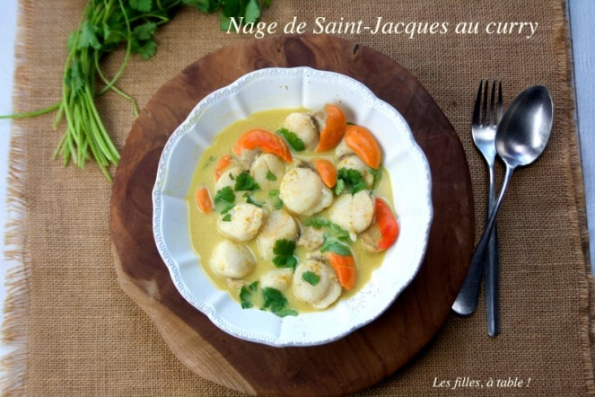 saint-jacques, curry, les filles à table