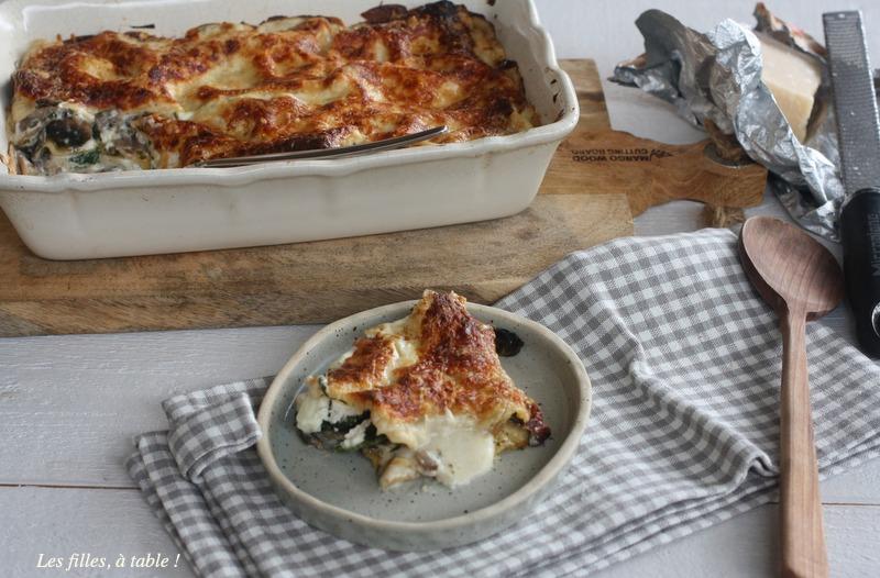 lasagnes, champignons, épinards, burrata, les filles à table