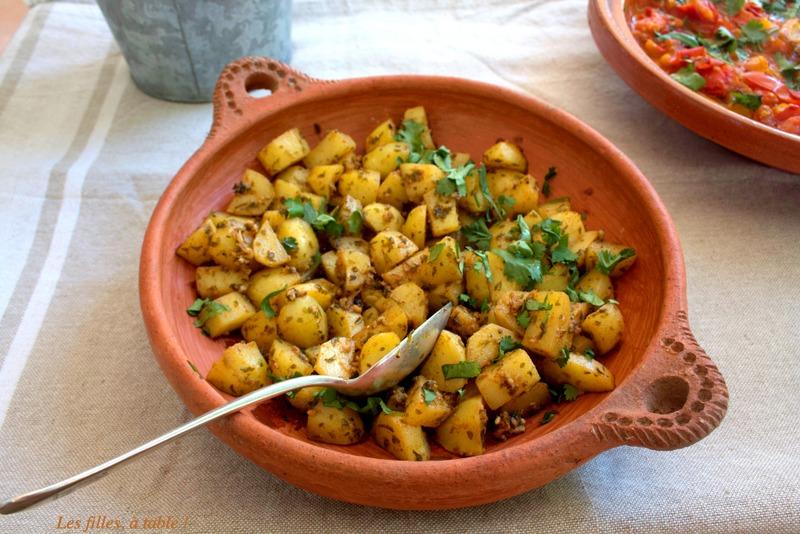 salade, pommes de terre, chermoula, les filles à table