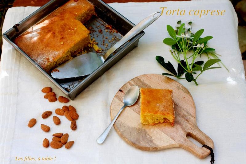 torta caprese, chocolat blanc, citron, les filles à table