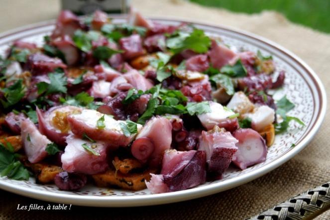 poulpe, patate douce, coriandre, portugal, les filles à table
