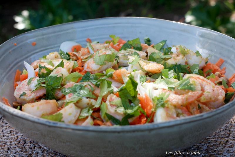 salade, salade thaïe, crevettes, IG bas, les filles à table