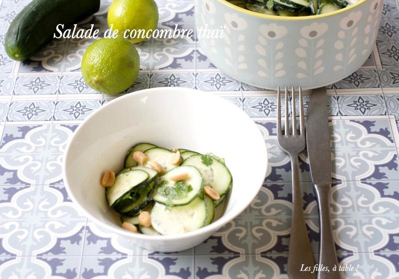 concombre, salade thaï, coco, les filles à table