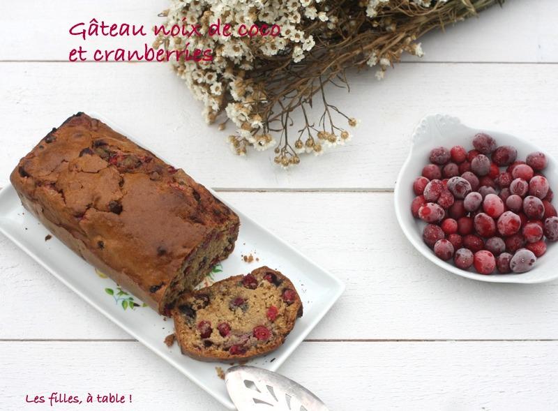 cake, noix de coco, cranberries