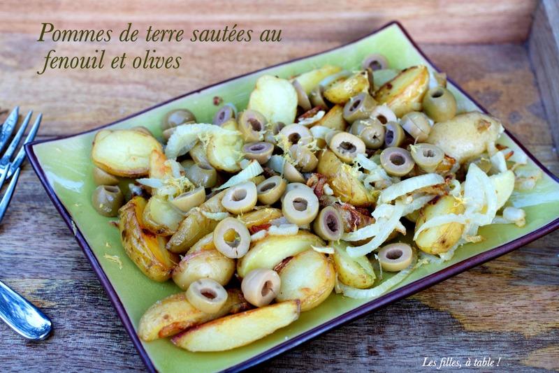 pommes de terre, fenouil, olives, les filles à table