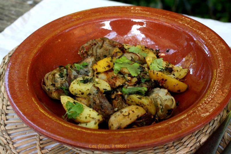 artichauts, pommes de terre, chermoula, les filles à table