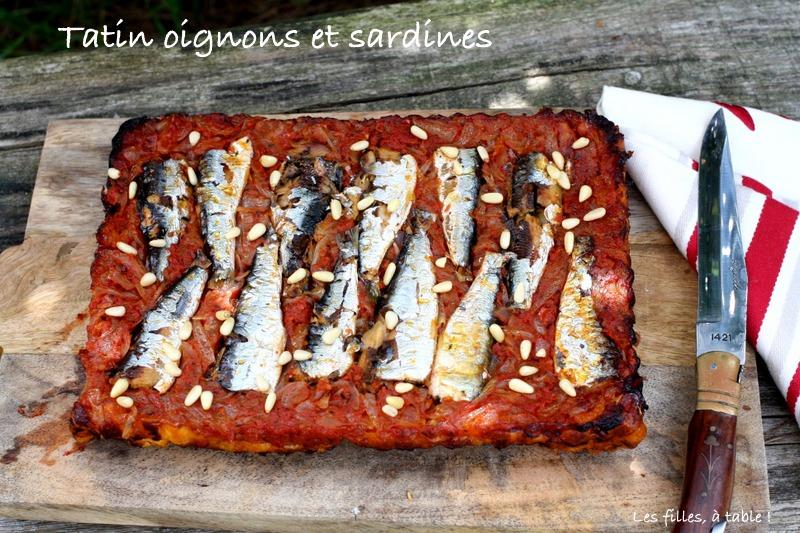 tatin, oignons, sardines, les filles à table