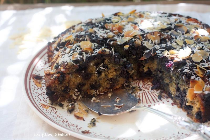 gâteau, myrtilles, coco, Ottolenghi, les filles à table