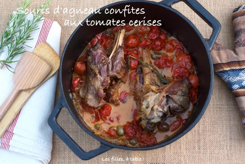 agneau, souris d'agneau, tomates cerises, les filles à table