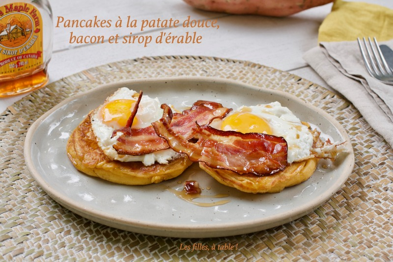 Pancakes à la patate douce, bacon et sirop d'érable