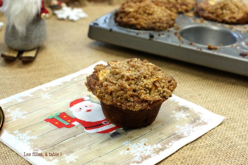 Muffins pommes cannelle en crumble