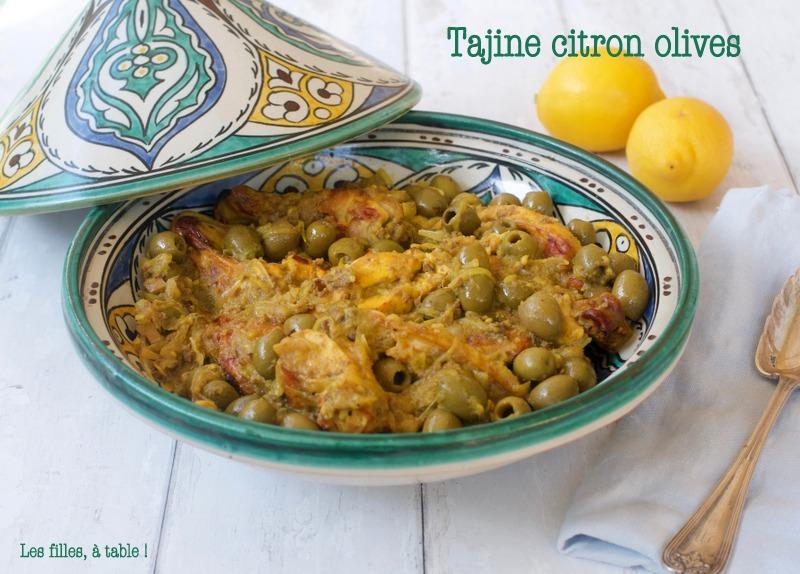 Tajine de poulet au citron confit et olives