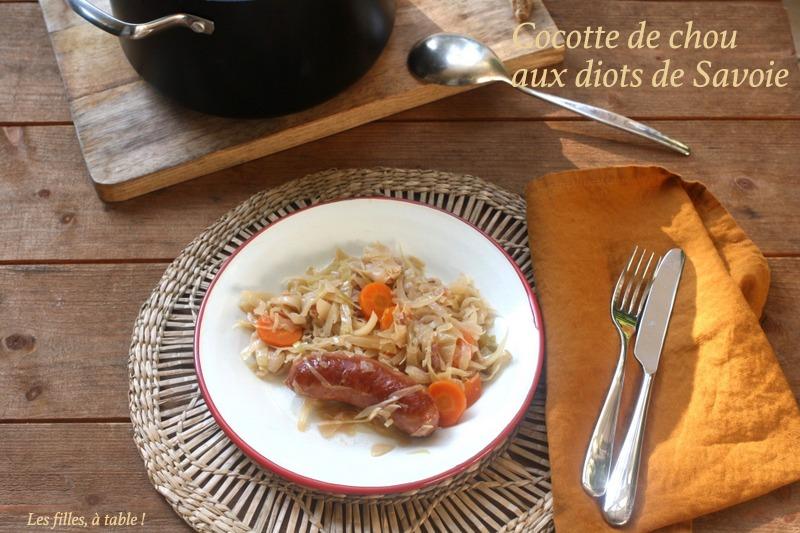 Cocotte de chou blanc aux diots de Savoie