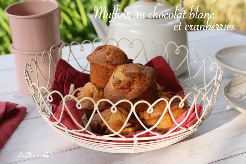 Muffins cranberries au chocolat blanc