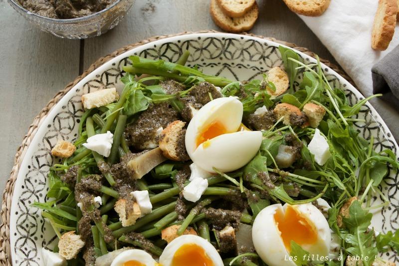 Salade haricots verts, artichauts, vinaigrette à la tapenade