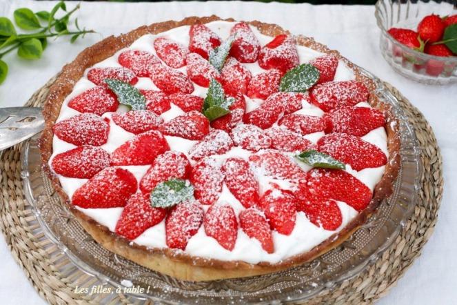 Tarte aux fraises sur crème au mascarpone