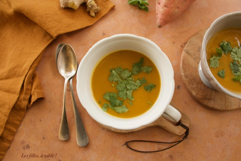 Soupe de patates douces au gingembre et curcuma