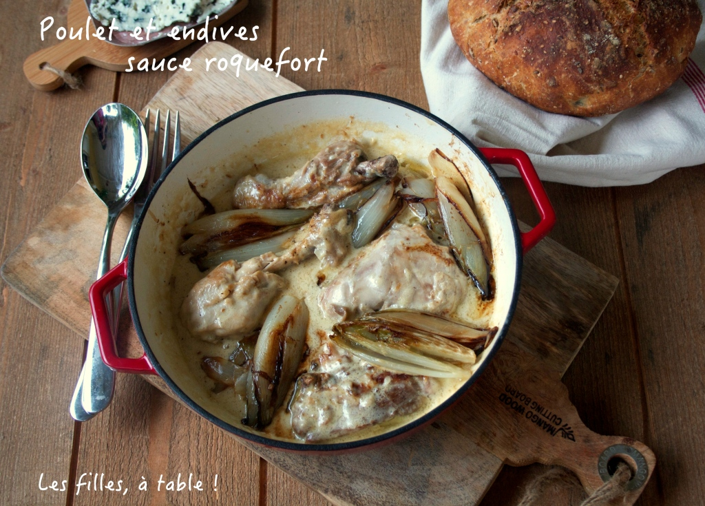 Poulet et endives, sauce roquefort