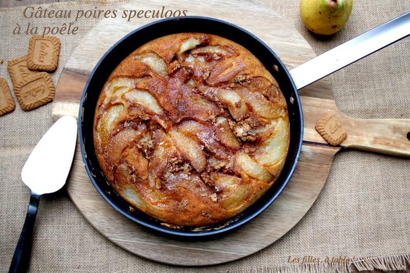 Gâteau poires et spéculoos à la poêle