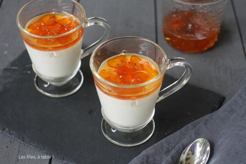 Panna cotta coco et kumquats confits