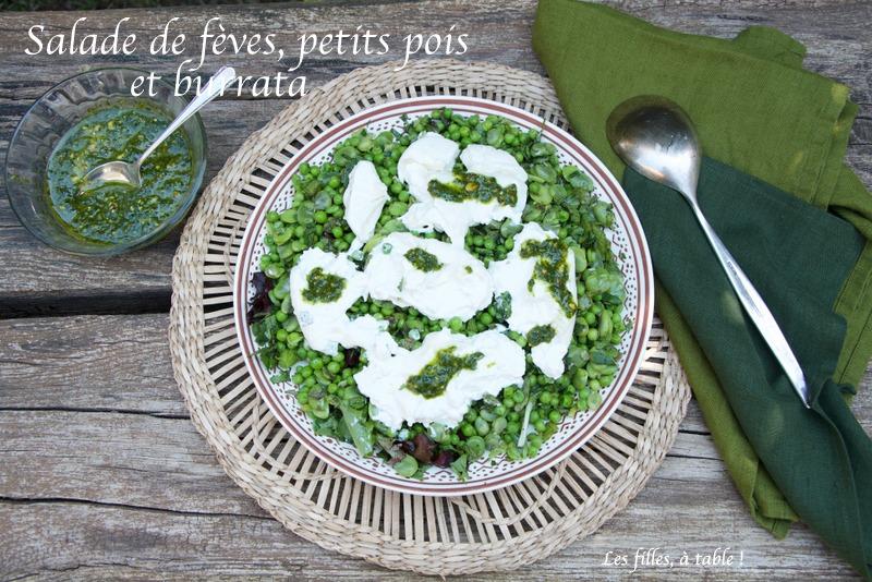 Salade de fèves, petits pois et burrata