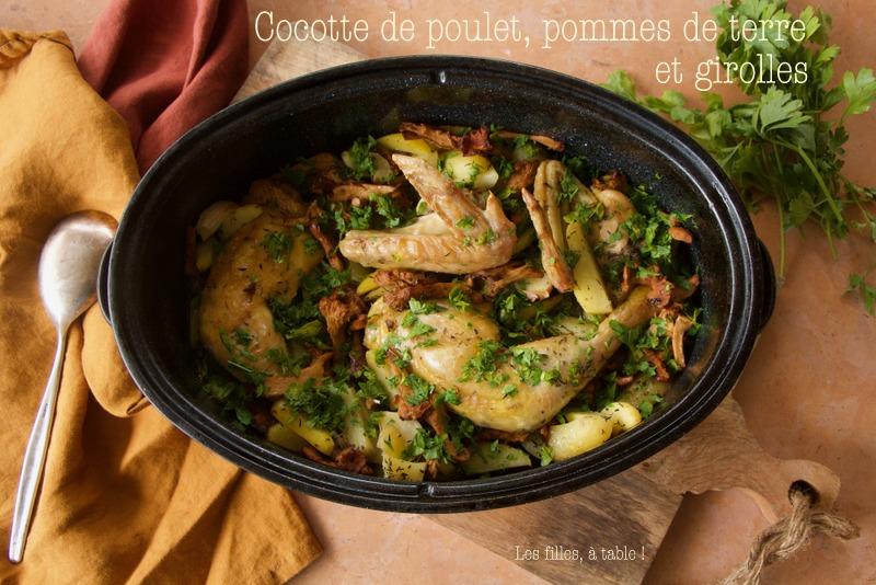 Cocotte de poulet, girolles et pommes de terre